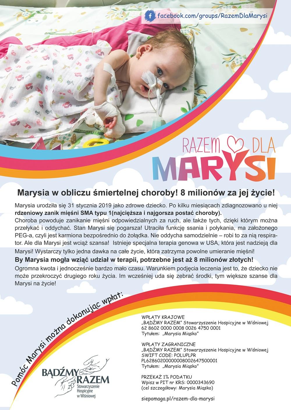 Razem dla Marysi - akcja charytatywna, plakat informacyjny