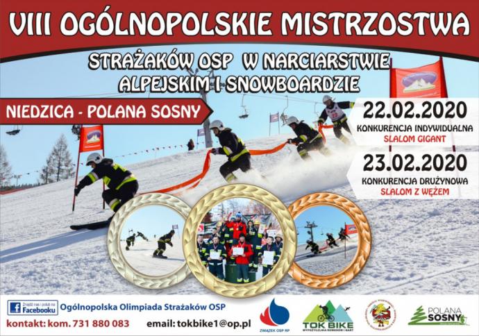 VIII Ogólnopolskie Mistrzostwa Strazackie w Narciarstwie 2020 - plakat informacyjny, zaproszenie
