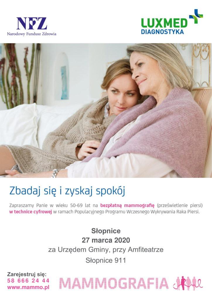 Mobilna pracownia mammograficzna LUX MED bezpłatne badania mammograficzne - plakat