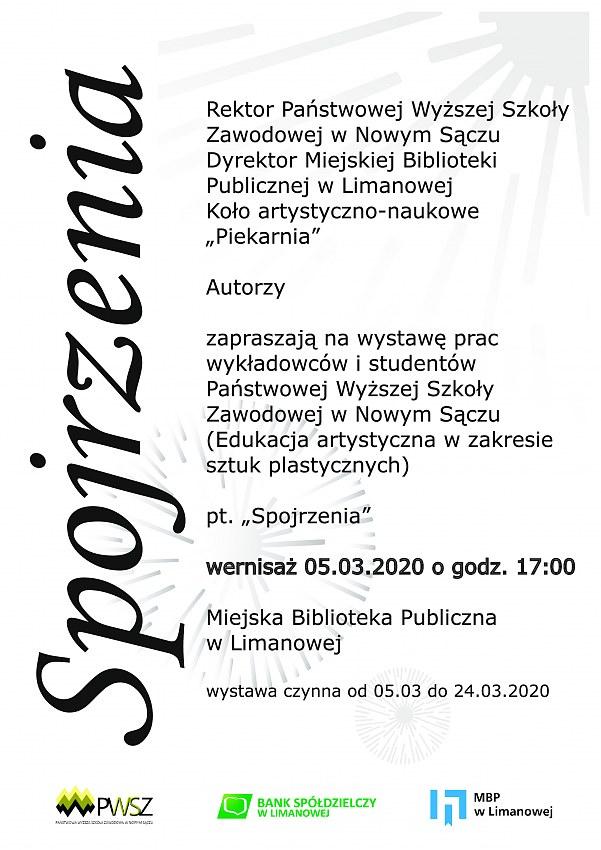 """Zaproszenie na wernisaż wystawy pn. """"Spojrzenia"""" w Miejskiej Bibliotece Publicznej w Limanowej"""