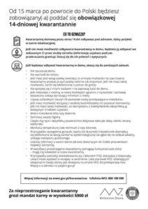 Kwarantanna - zasady, plakat informacyjny
