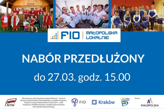 FIO Małopolska Lokalnie, przdłuzony termin skladania wniosków - plakat informacyjny