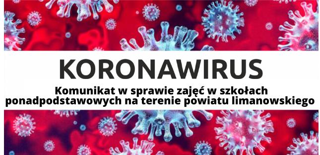 Koronawirus: komunikat w sprawie zajęć z uczniami szkół ponadpodstawowych