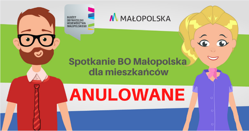 Spotkanie BO Malopolska anulowane i plakat informacyjny