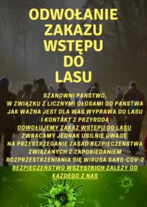 Zakaz wstępu do lasu odwołany- plakat informacyjny