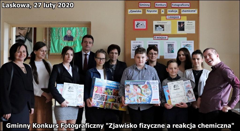 """Gminny Konkurs Fotograficzny """"Zjawisko fizyczne a reakcja chemiczna"""" Laskowa luty 2020"""