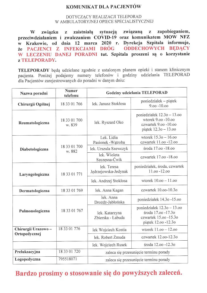 Komunikat Szpitala Powiatowego w Limanowej dotyczący realizacji teleporad w ambulatoryjnej opiece specjalistycznej