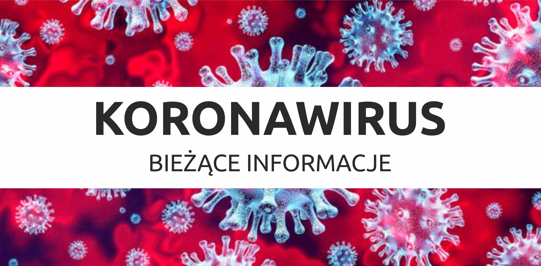 Zdjęcie niebiesko czerwonch bakkteri w zbliżeniu mikroskopijnym z czarnym napisem Koronawirus bieżace informacje przez środek na białym tle.