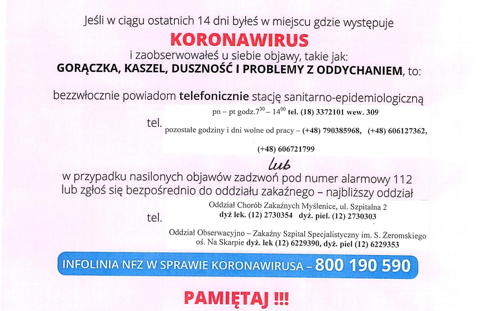 Koronawirus: komunikat dla pacjentów Szpitala Powiatowego w Limanowej