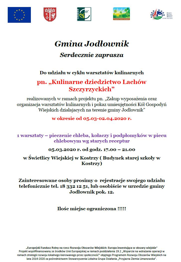 Zaproszenie na warsztaty kulinarne - gmina Jodłownik