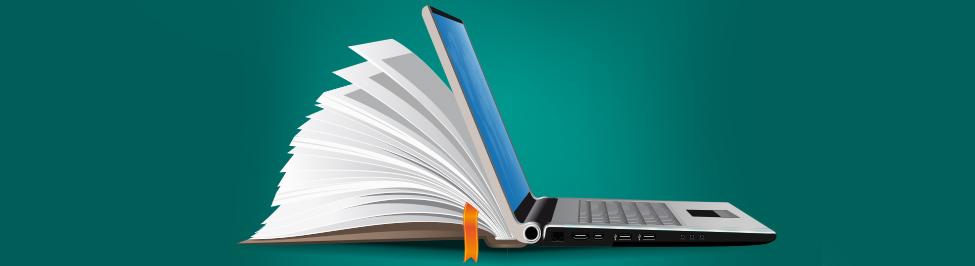 wsparcie dla eukacji - grafika: książka i laptop