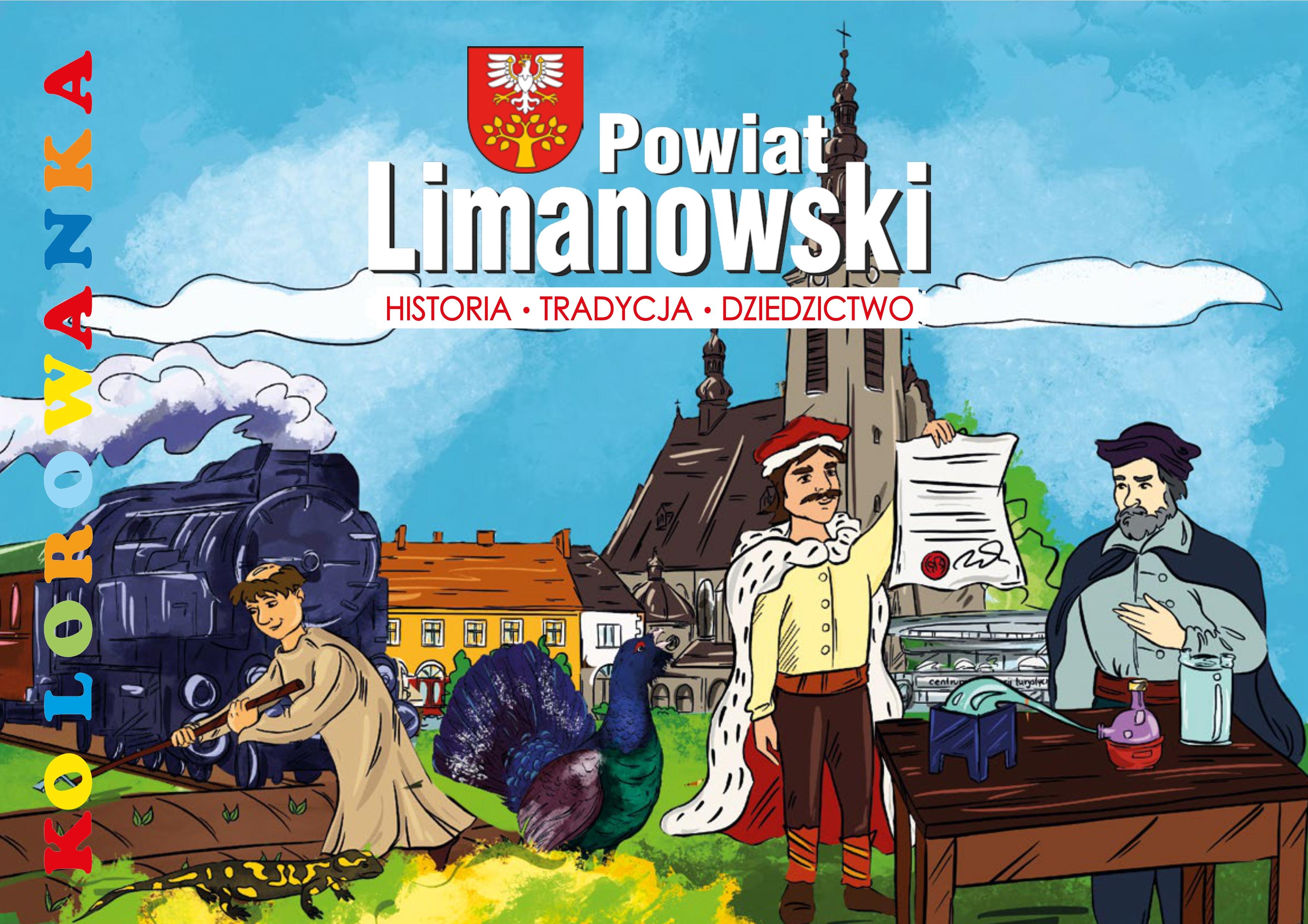 """kolorowanka """"Powiat Limanowski: Historia-Tradycja-Dziedzictwo"""" okładka"""