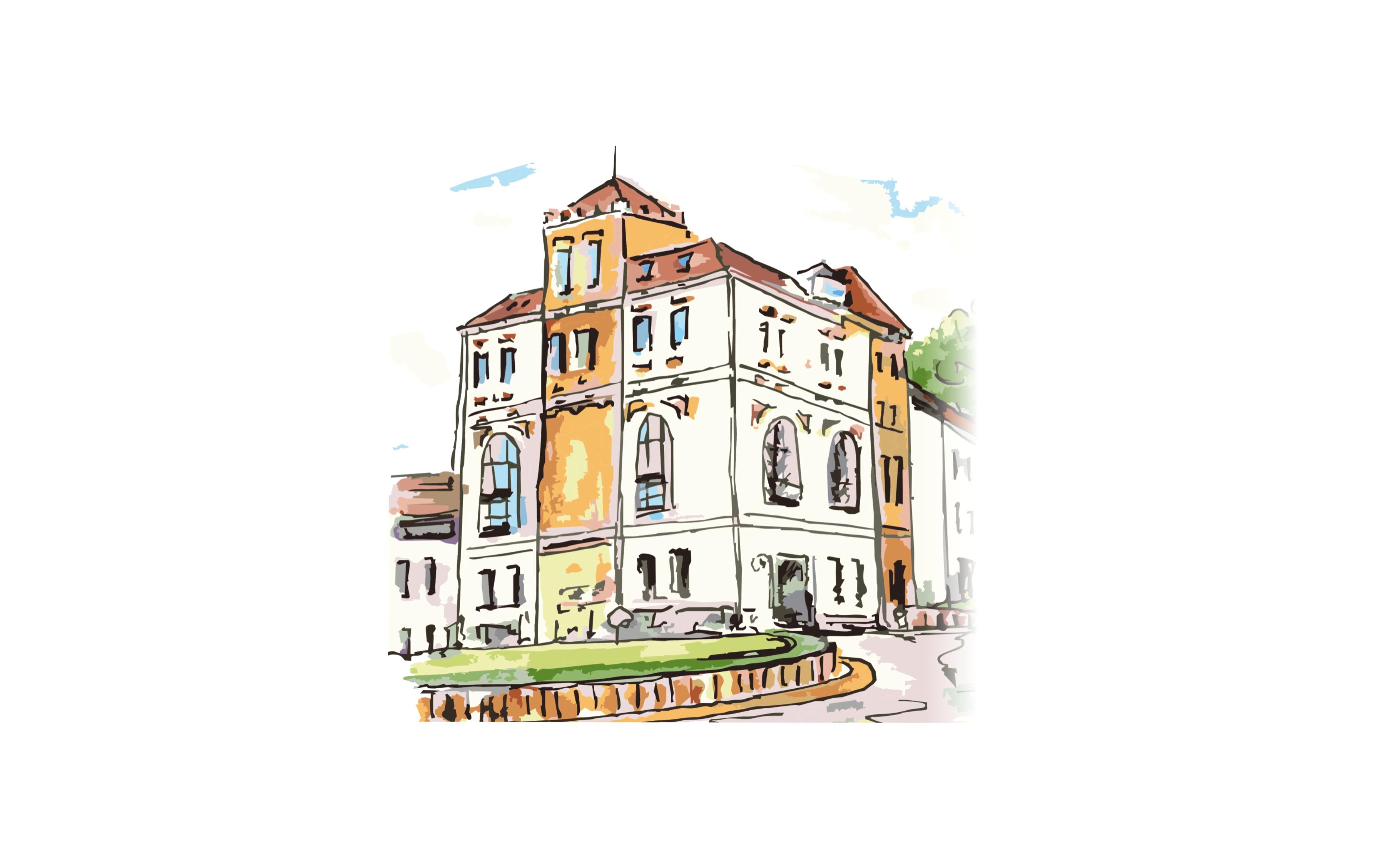 rysunek przedstawiający budynek Starostwa Powiatowego w Limanowej