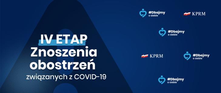 IV etap znoszenia obostrzeń w związku z COVID-19 - plakat informacyjny gov.pl