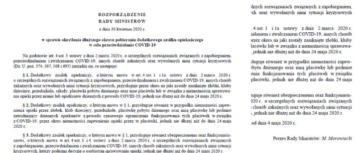 Rozporządzenie Rady Ministrów z dn 30.04.2020 w sprawie określenia dłuższego pobierania dodatkowego zasiłku opiekuńczego - dokument