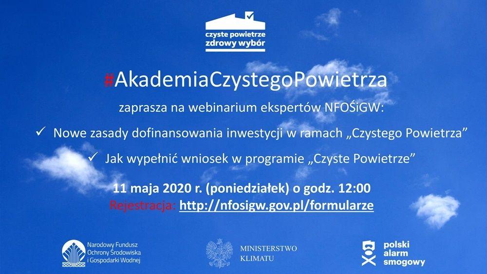 Akademia Czystego Powietrz- plakat informacyjny, webinarium