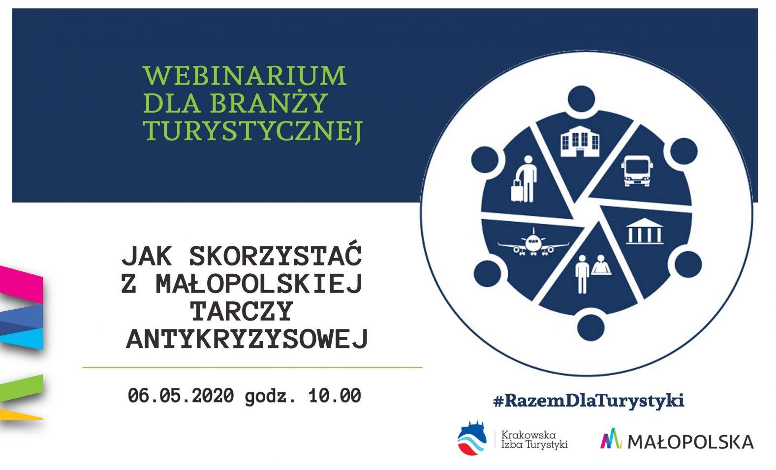 Webinarium dla branży turystycznej- plakat, informacyjny, zaproszenie