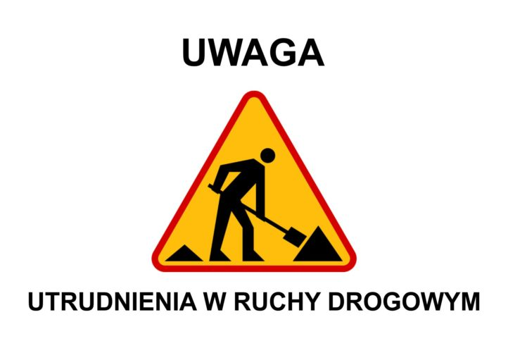 """zdjęcie znaku ostrzegawczego - """"uwaga! utrudnienia w ruchu drogowy"""""""