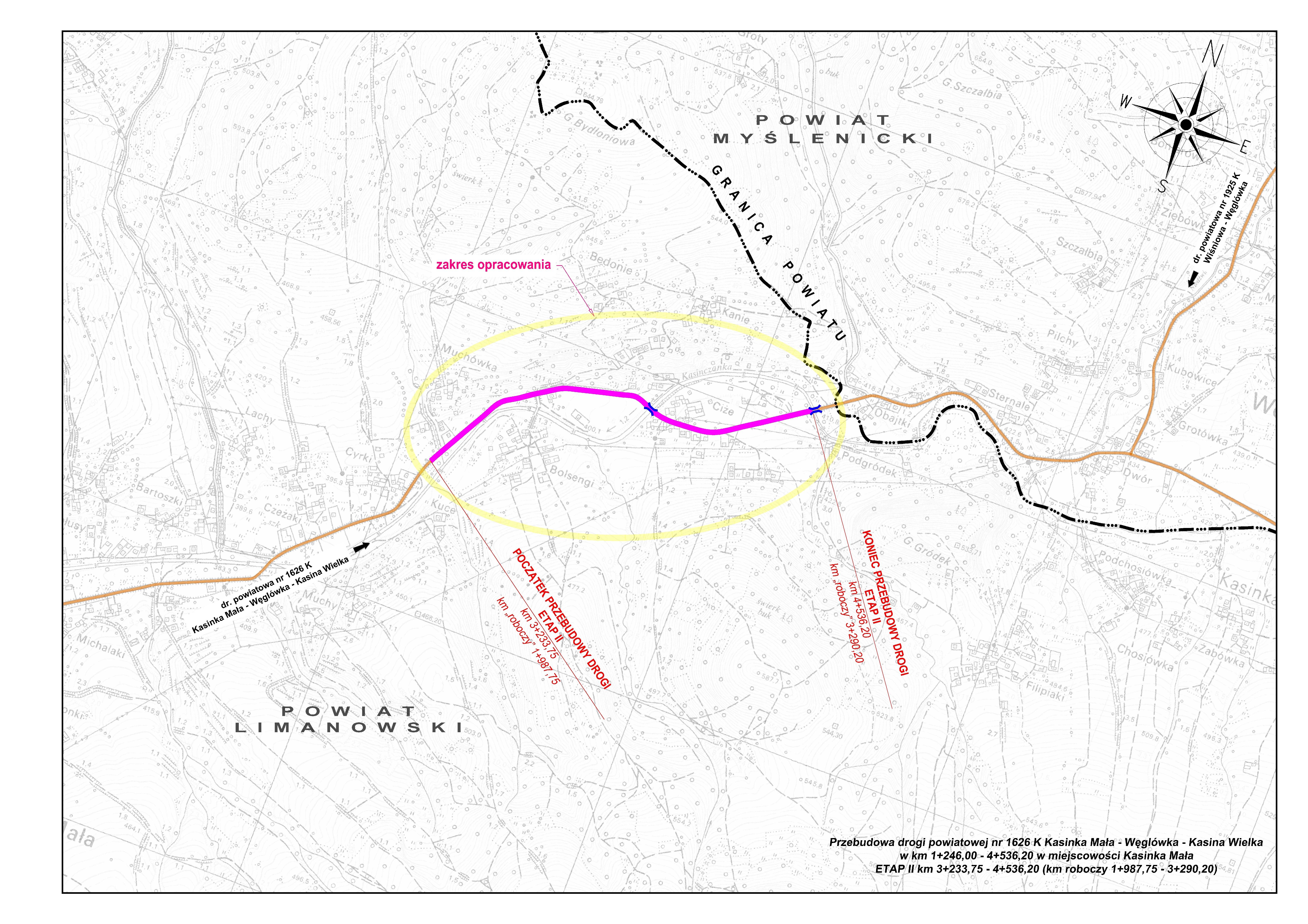 Mapa, zdjecie- przebudowa drogi powiatowej nr 1626 K Kasina Mała - Węglówka