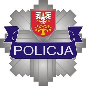 Logo policja- odznaka. U góry umieszczony herb powiatu limanowksiego biały orzeł na czerownym tle z zółtym drzewm które ma 12 liści.