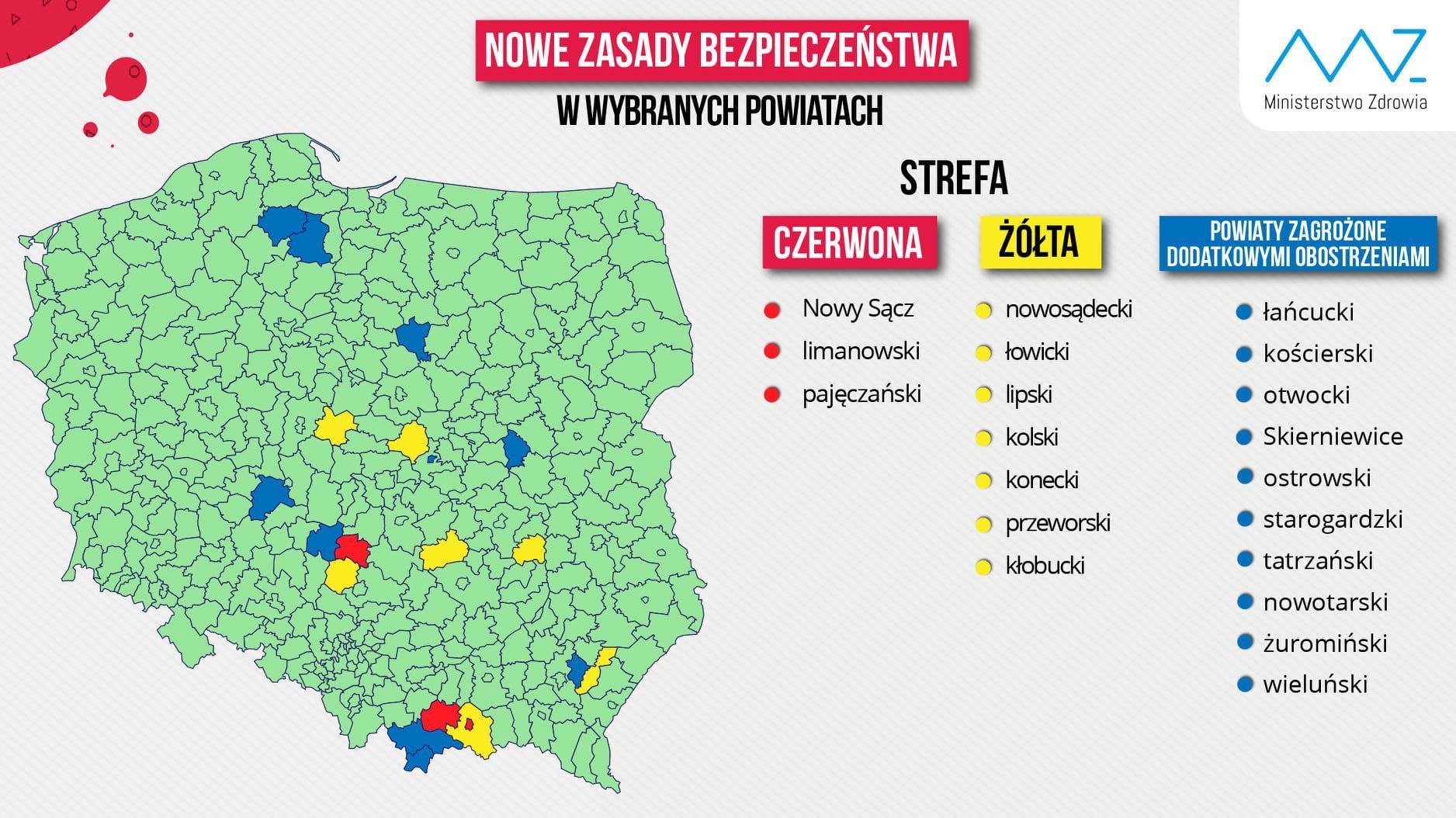 Powiat Limanowski w strefie czerwonej - informacja ministerstwa zdrowia, mapa