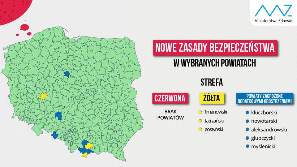 Nowe zasady bezpieczeństwa w wybranych powiatach - informacja Ministerstwo Zdrowia, mapa
