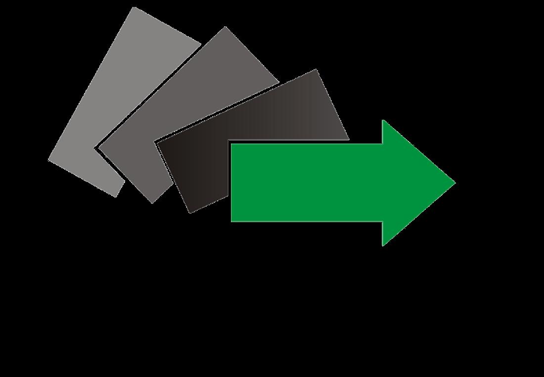 Logo Powiatowego Urzędu Pracy w Limanowej (trzy prostokąty pochylone w odcieniach szarości i zielona strzałka w prawo)