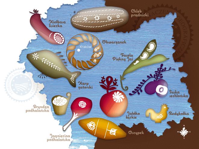 Małopolskie produkty regionalne - mapka ilustrowana