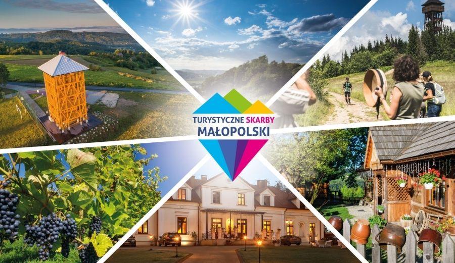 Turystyczne Skarby Małopolski - głosowanie, plakat informacyjny; kolaż