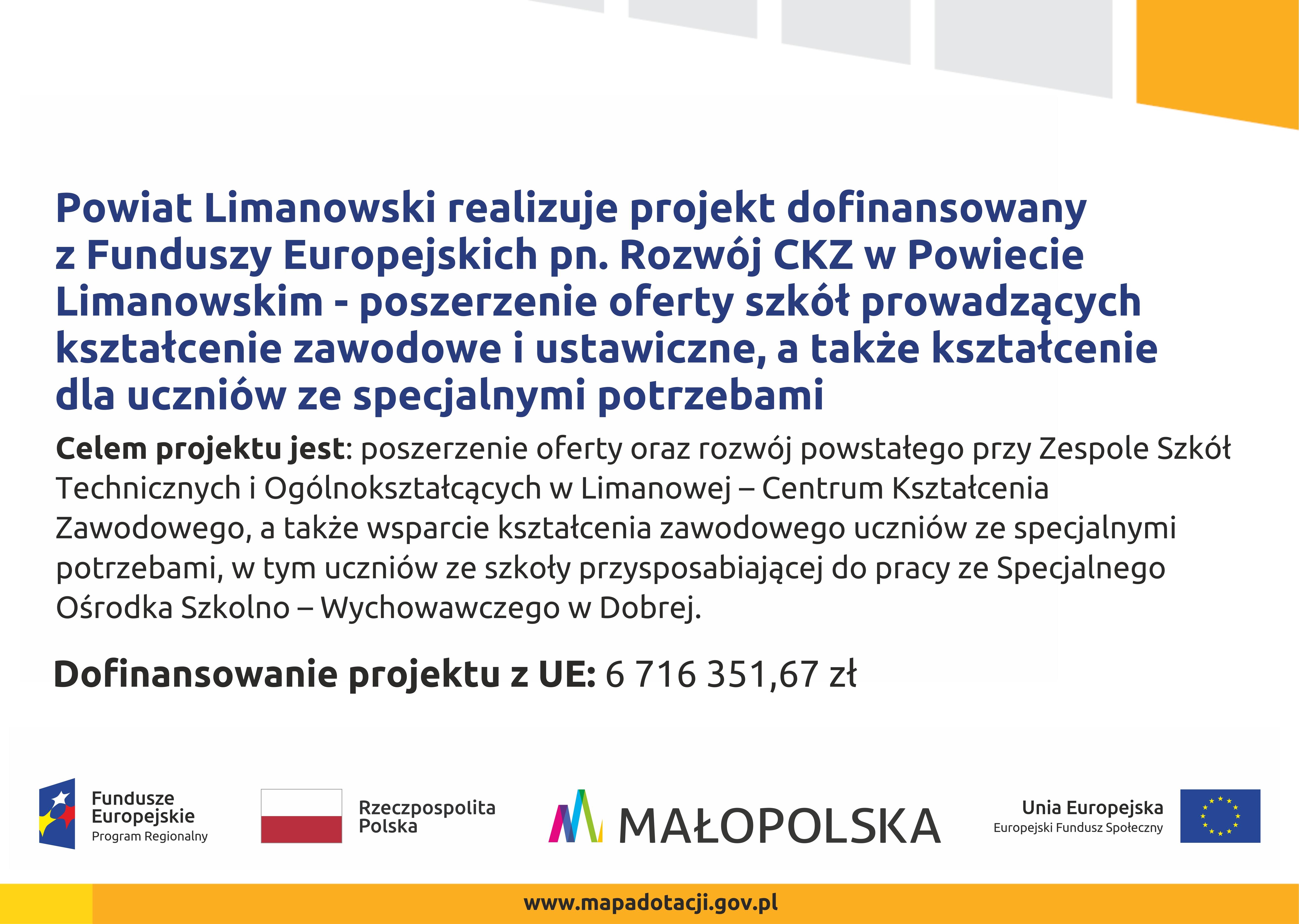 Rozwój CKZ w Powiecie Limanowskim - informacja