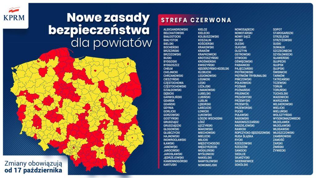 Grafika z wypisanymi powiatami objętymi obostrzeniami strefy czerwonej od 17 października. Mapa polski z zółtymi i czerwonymi strefami. Napis: nowe zasady bezpieczeństwa dla powiatów