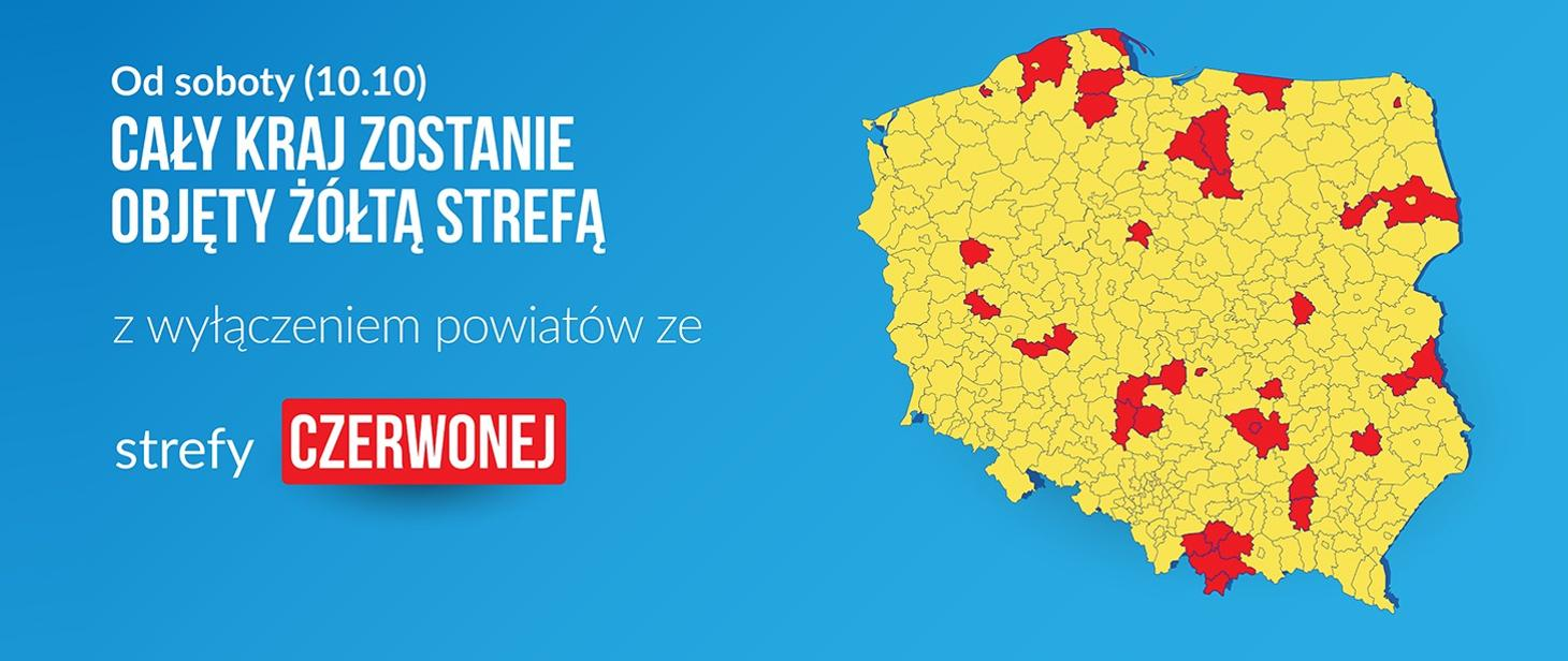 Grafika z mapą polski. Na zółto i czerwono zaznaczone są strefy który zostały objęte obostrzeniami. U góy napis od soboty 10 październik cały kraj zostaje objęty żółtą strefą z wyłączeniem powiatów ze strefy czwerwonej.