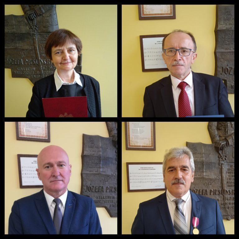 Kolaż cztrech zdjęć odznaczonych nauczycieli