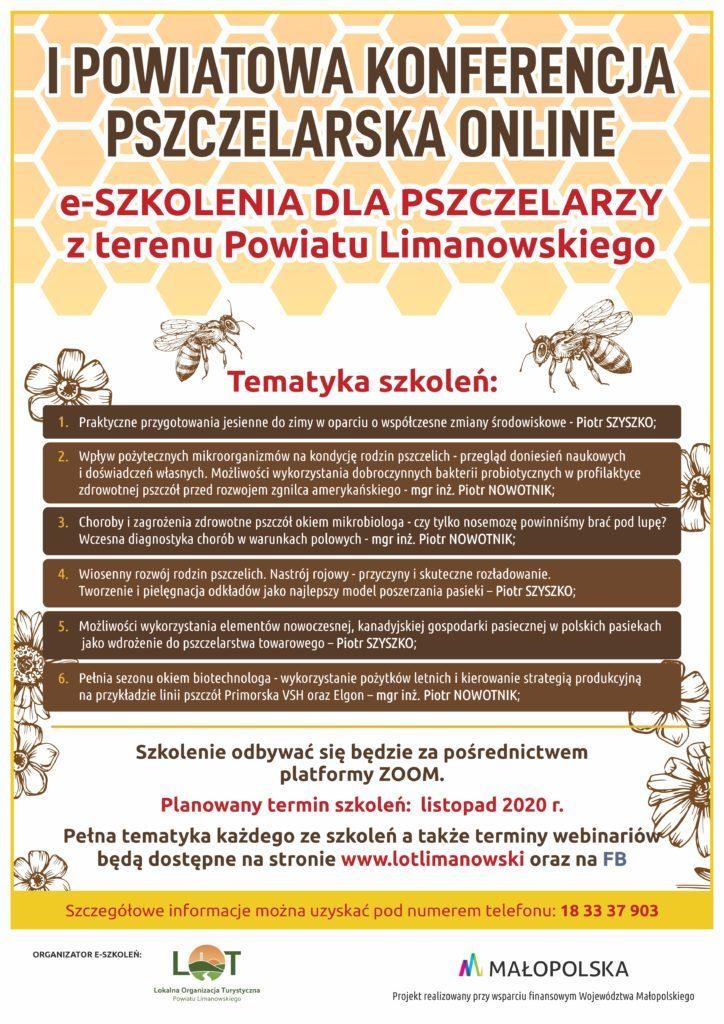 Plakat informujący o wydarzeniu. Pierwsza powiatowa konferencja pszczelarska online. E-szkoleie dla pszczelarzy z terenu powiatu limanowskiego.