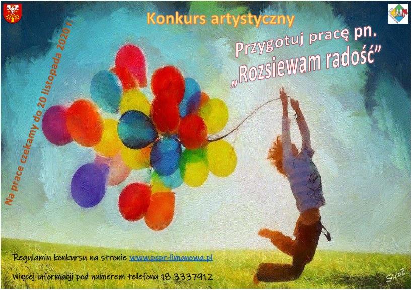 plakat - konkurs rozsiewam radość. Dziecko skazczące i tzymające kolorowe balony.