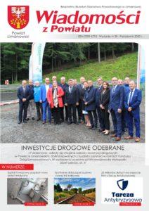 Pierwsza strona wydanej gazety Wiadomości z Powiatu. Zdjęcie grupy radnych powiatu limanowskiego na odcinku trasy wyścigu górskiego.