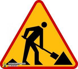 Znak drogowy - uwaga roboty drogowe