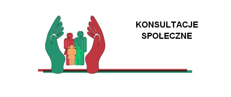 Logo konsultacje społeczne. Dwie dłoie obejmujące czterosobowąodzinę.