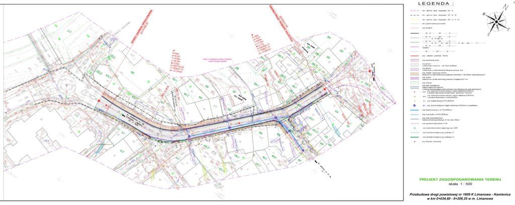 Zdjęcie przedstawiające mapę i legendę związaną z kompleksową odcinkową przebudową drogi