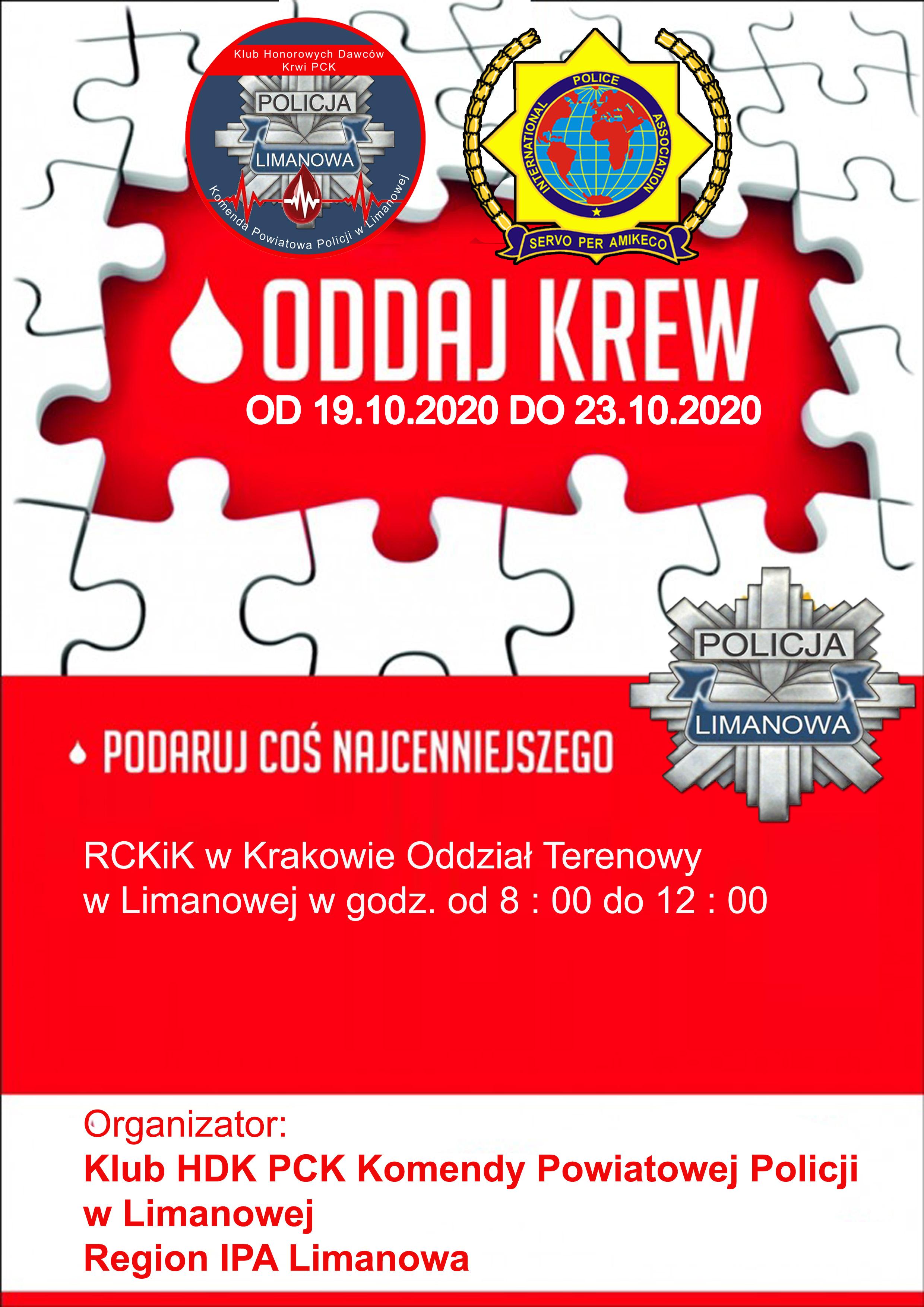 Oddaj krew. Plakat informujący o wydarzeniu.