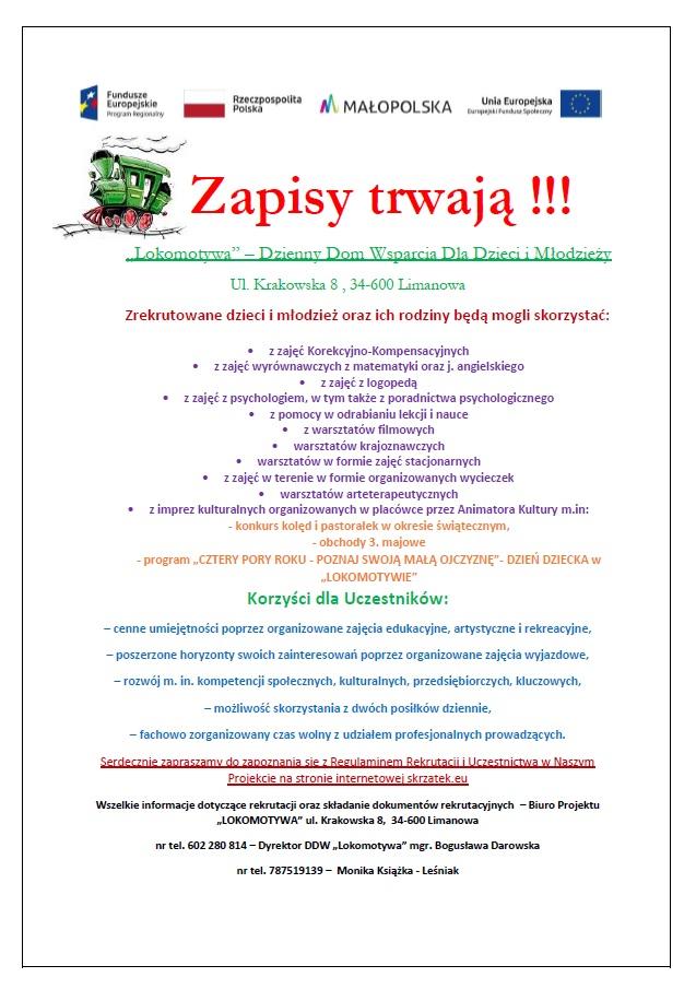 plakat - Lokomotywa - Dzienny Dom Wsparcia Dla Dzieci i Młodzieży