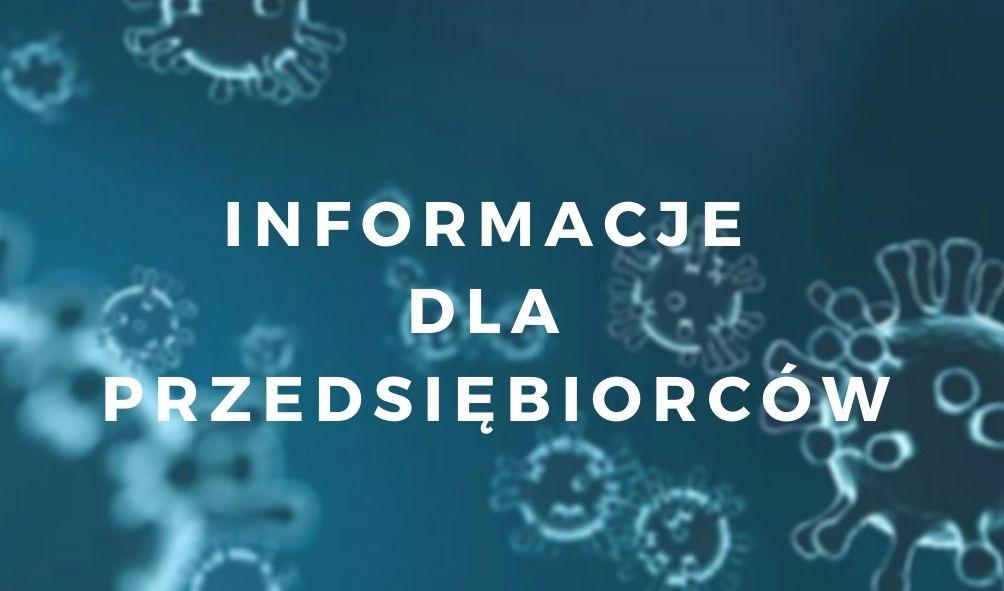 """Przeźroczyste bakterie w zbliżeniu mikroskopijnym na niebieskim tle z białym napisem przez środek """"Informacje dla przedsiębiorców"""""""