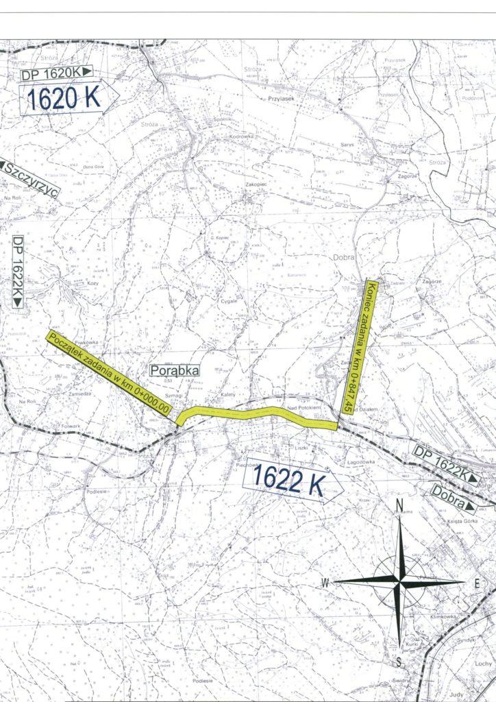 Mapa przedstawiająca wykonanie chodnika.
