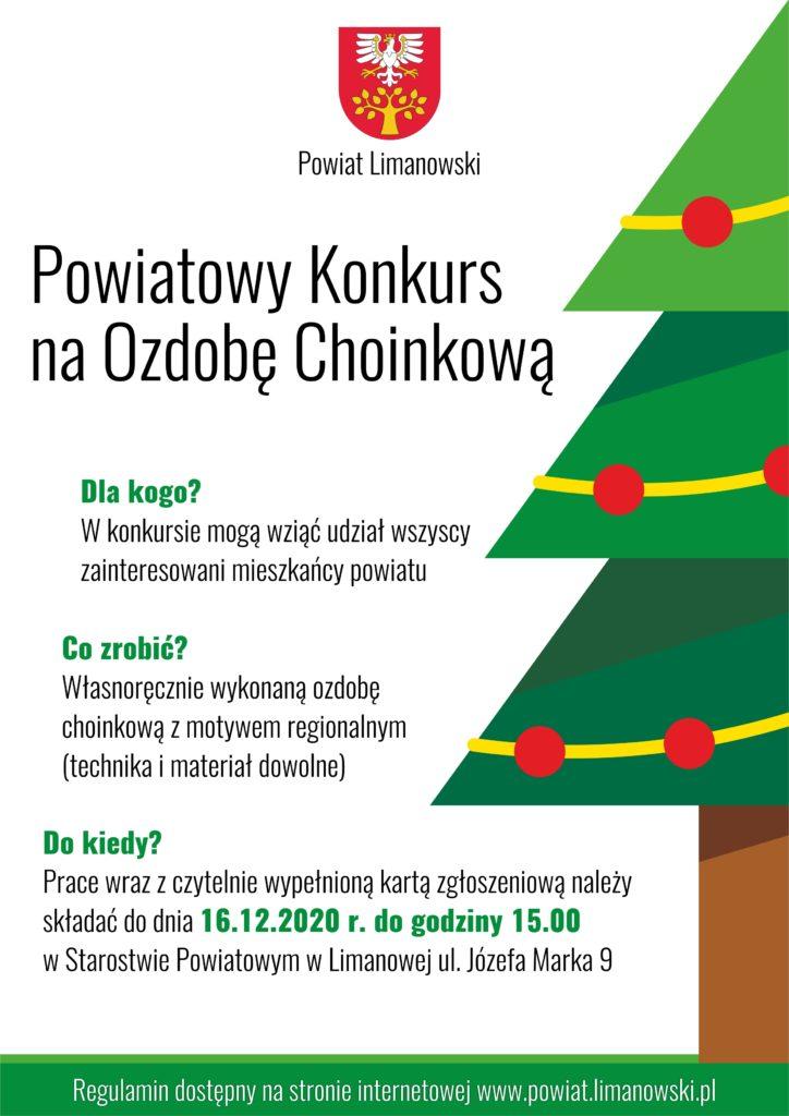 Powiatowy konkurs na ozdobę choinkową plakat informujący.