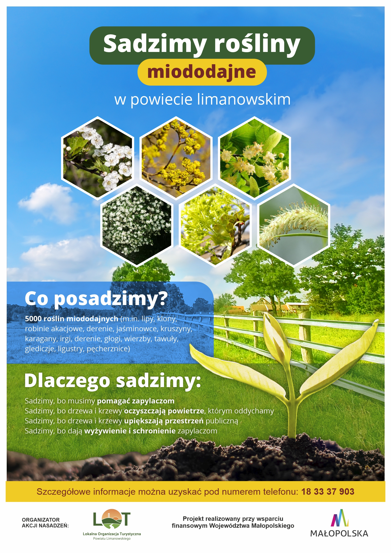 plakat informujący o wydarzeniu- sadzimy rośliny miododajne w powiecie limanowskim