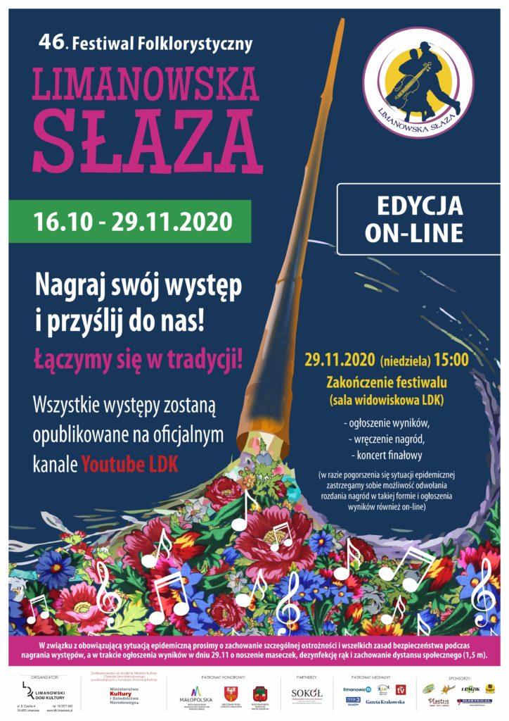 Plakat informukący o wydarzeniu - czterdziesty szósty festiwal folklorystyczny limanowska słzaza. Edcyja on-line