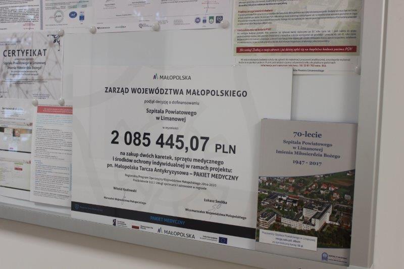 zdjęcie - informacja o dofinansowaniu Szpitala Powiatowego w Limnaowej przez Zarzad Województwa Małopolskiego