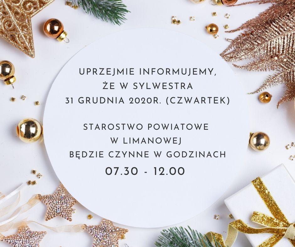 grafika - informacja. W sylwestra 31 grudnia starostwo czynne w godzinach 07.30 do 12.00