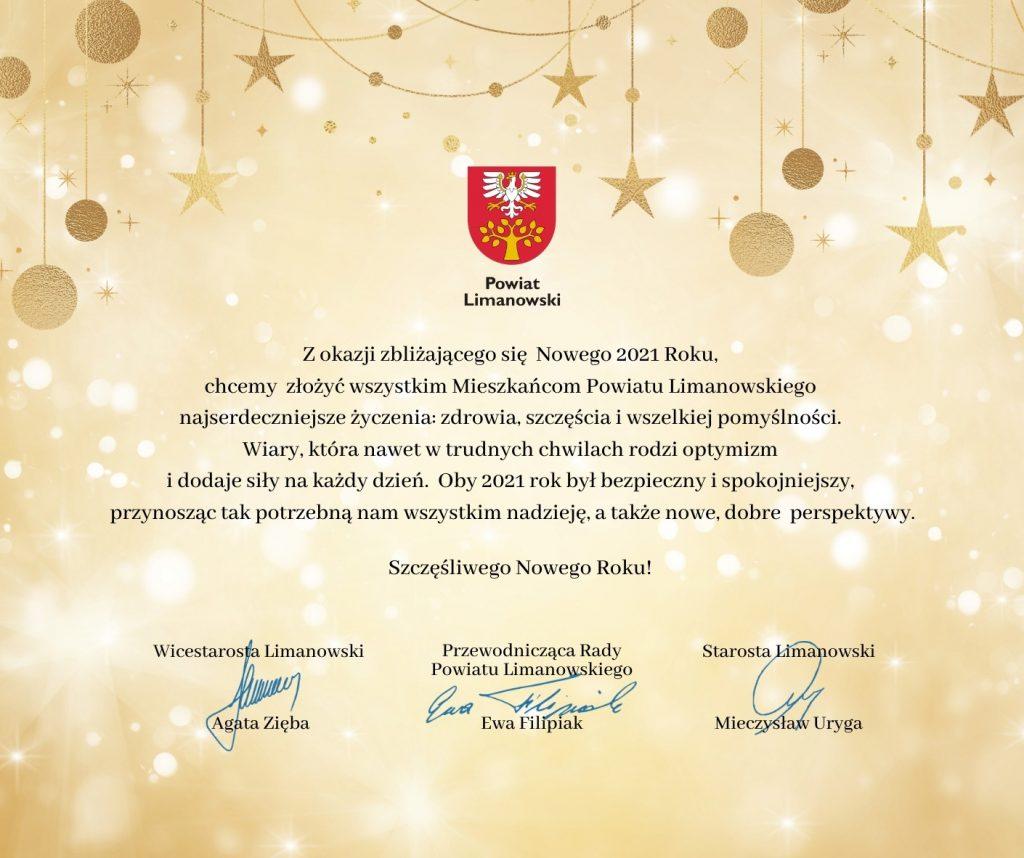 Życzenia noworoczne od Zarządu i Rady Powiatu Limanowskiego
