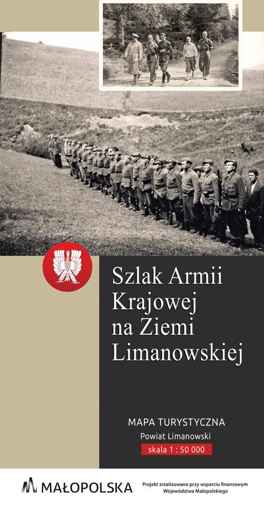 grafika - nowa publikacja Szlak Armii Krajowej na Ziemi Limanowskiej. Zdjęcie okładkowe mapy.